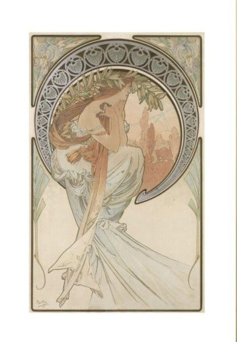 La donna liberty e art nouveau. Alfons Mucha, Les Arts (La Poesia), 1898 - Litografia a colori, cm 57,2 × 36,5 - Richard Fuxa Foundation. Foto: © Richard Fuxa Foundation
