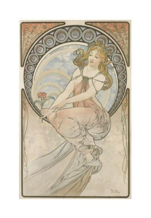 La donna liberty e art nouveau. Alfons Mucha, Les Arts (La Pittura), 1898 - Litografia a colori, cm 57,2 × 36,5 - Richard Fuxa Foundation. Foto: © Richard Fuxa Foundation