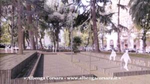 Savona rendering 1 Piazza del Popolo area gioco petanc