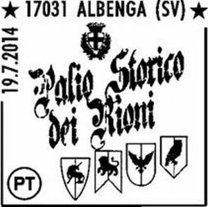 annullo filatelico speciale al Palio Storico dei Rioni di Albenga