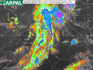 Immagine da satellite della perturbazione sulla Liguria