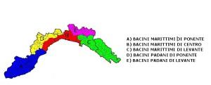 Liguria mappa Bacini ABCDE Allerta