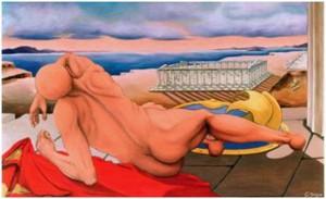 La Caduta del mito (1993)- G. Mazza olio su tela 80x140