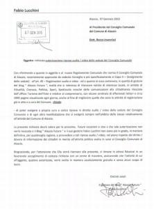 Alassio - 1 Comune - richiesta riprese audio e video Consiglio Comunale - 07-01-2015