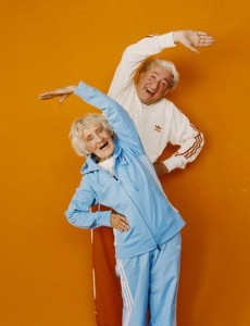 Senior couple wearing tracksuits