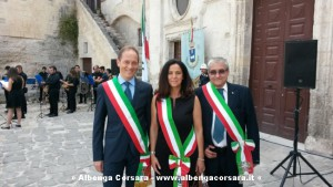 Mauro Demichelis con Nicla Tallone sindaco di Chiusanico e Enrico Lupi