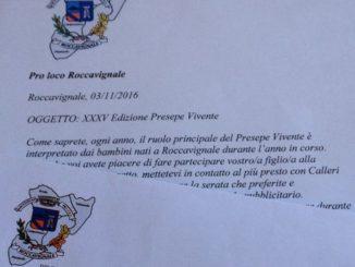 lettera Pro Loco Roccavignale