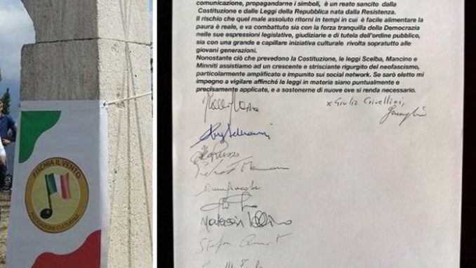 Fischia il Vento Patto antifascista firme