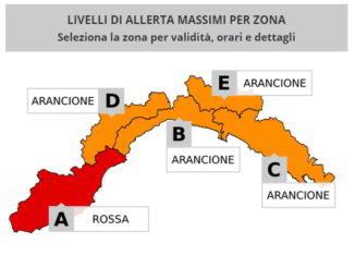 allerta Liguria mappa zone 28 febbraio 2018