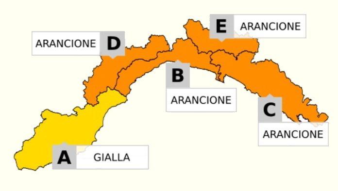 Allerta Liguria cartina del 010318