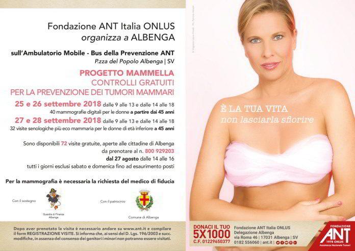 Ant Albenga visite prevenzione per i tumori mammari 2018