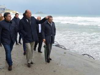 Giovanni Toti mareggiata sopralluogo ad Alassio con il sindaco Melgrati