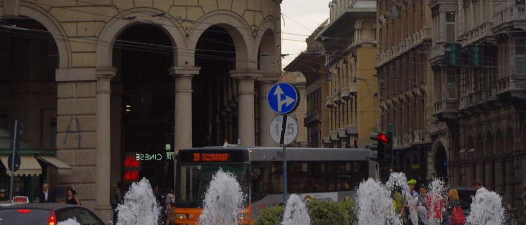 Particolare di Piazza De Ferrari a Genova