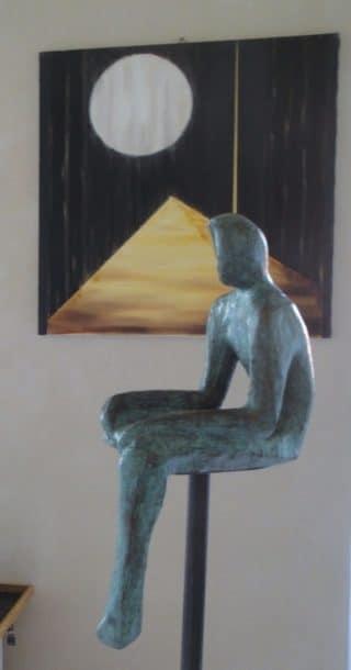 scultura e quadro di Serenella Sossi