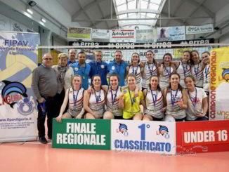 formazione U16F Viticoltori Ingauni della Pallavolo Albenga titolo regionale