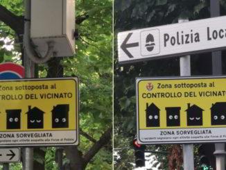 Cartelli controllo di vicinato in Viale Pontelungo ad Albenga