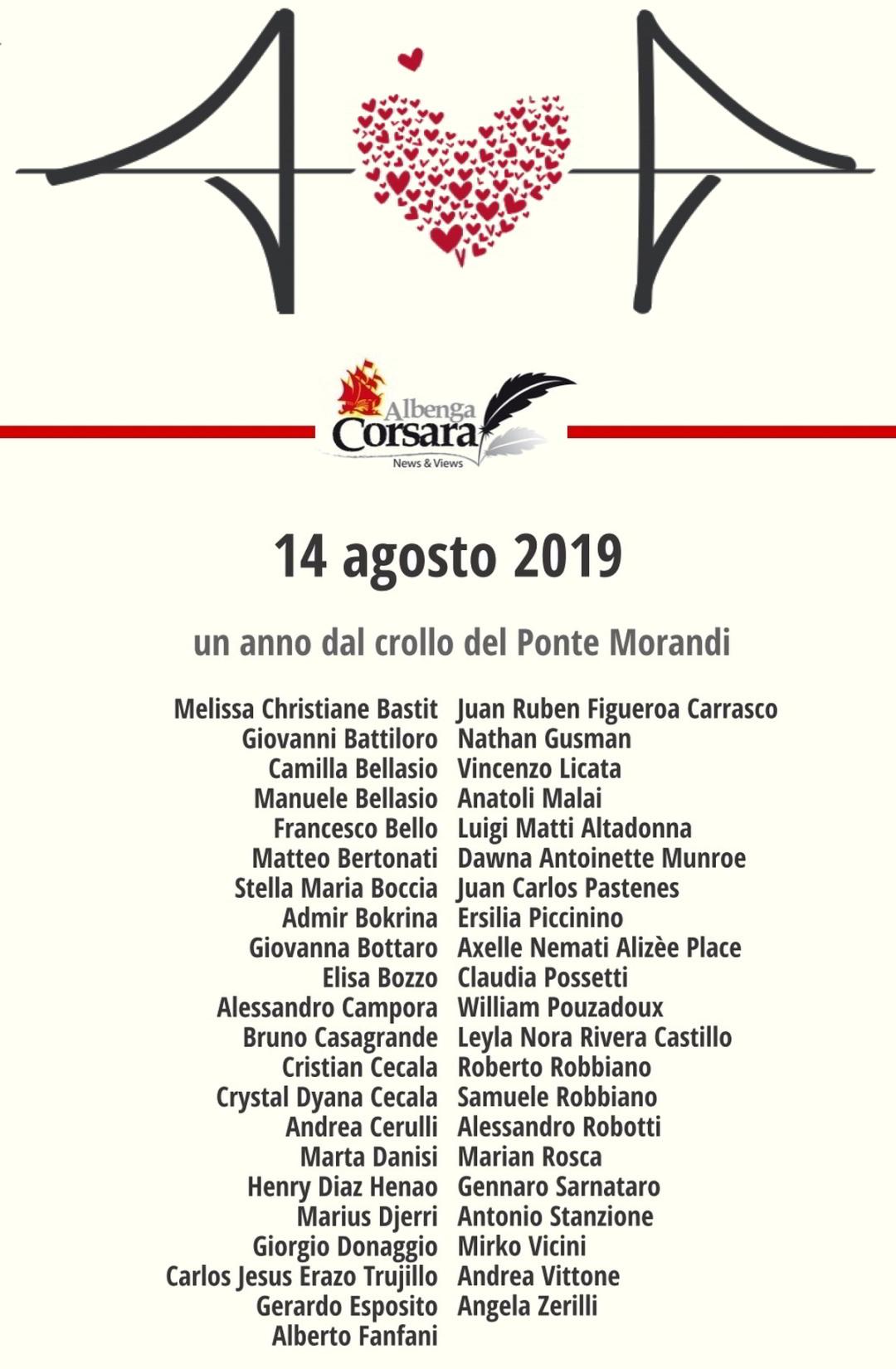 Commemorazione crollo Ponte Morandi Genova AC 14agosto2019