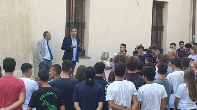 Assessore regionale Stefano Mai inaugura anno scolastico istituto agrario di Albenga con il preside Massimo Salza