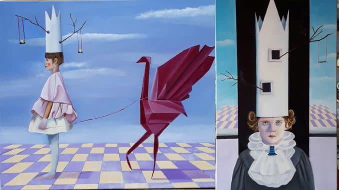 Due opere della pittrice Monica Zambon