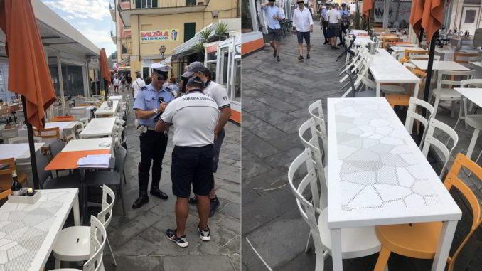 sequestro sedie e tavolini a locale di Alassio
