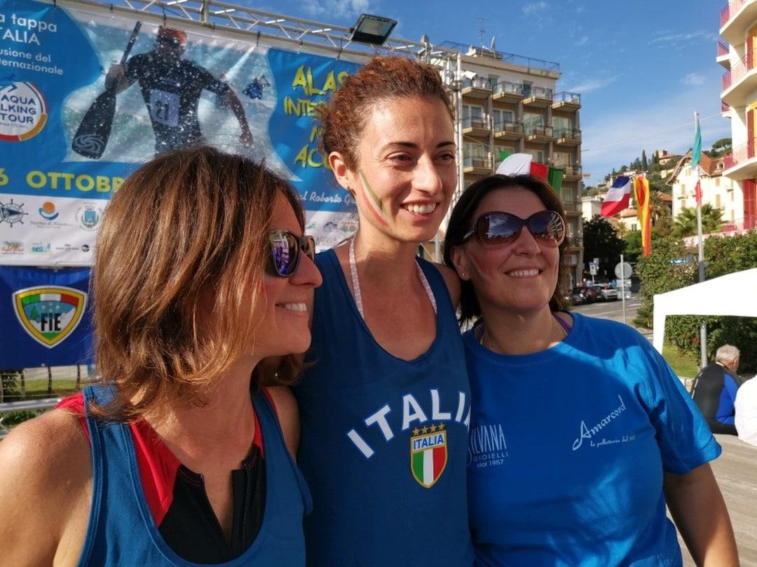 08 Alassio record marcia acquatica Lorena Rasolo Maddalena Canepa e Roberta Zucchinetti