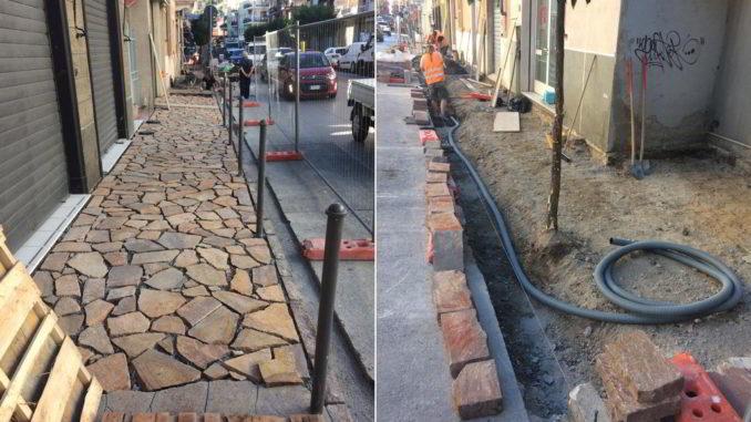 I lavori di rifacimento marciapiedi di Corso Europa ad Alassio