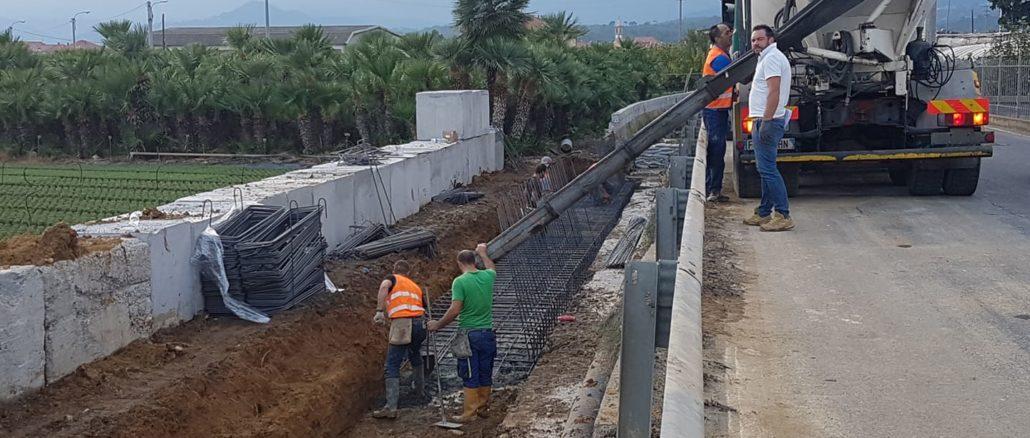 Lavori rifacimento muro via del Cristo ad Albenga