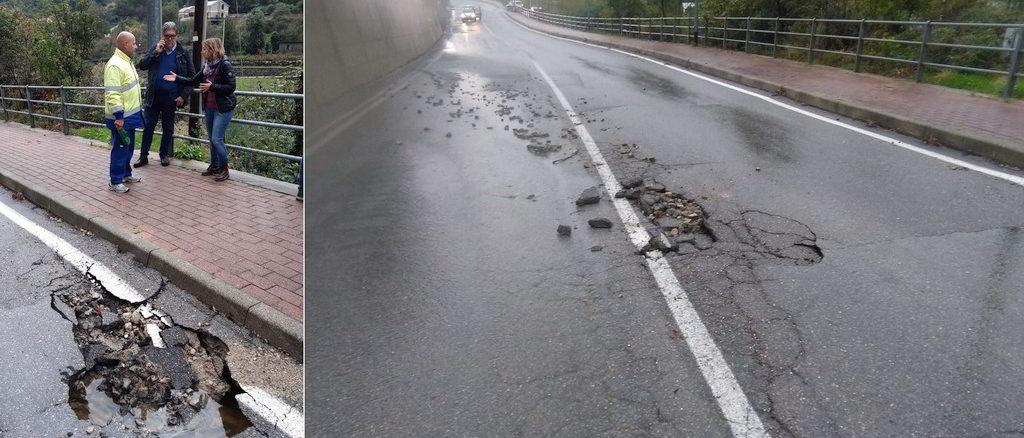 Sopralluogo strada per Verzi danneggiata dal maltempo a Loano