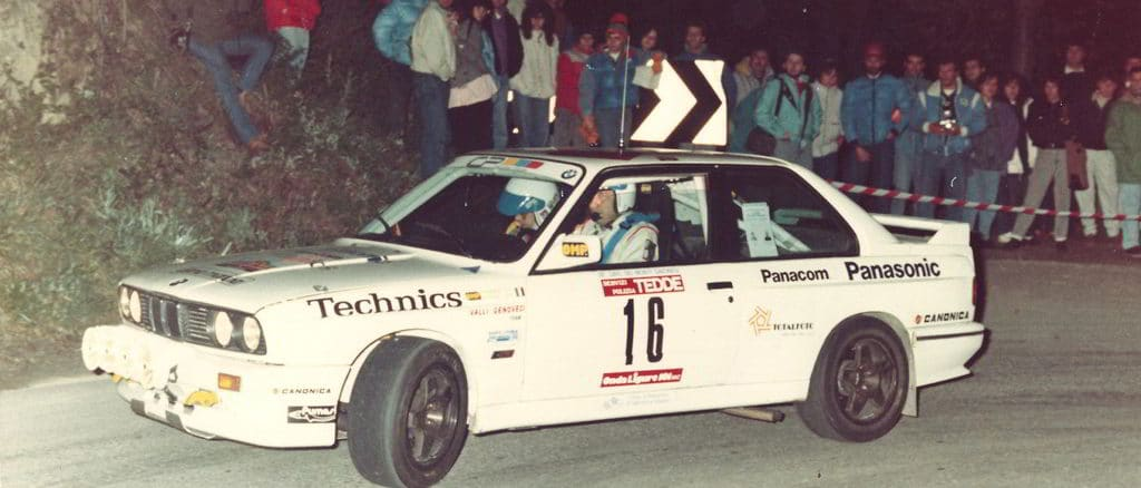 La Bmw M3 di Alberto Bonamini e Raffaele Caliro al Giro dei Monti Savonesi 1988