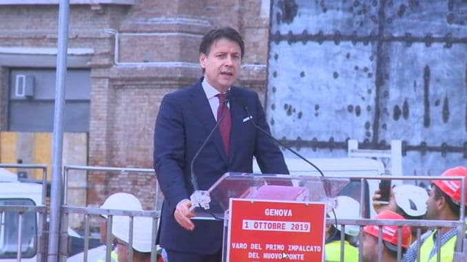 Nuovo ponte Genova il presidente del Consiglio Giuseppe Conte alla cerimonia del varo del primo impalcato
