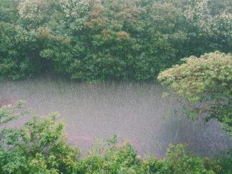 Pioggia lungo il corso di un fiume