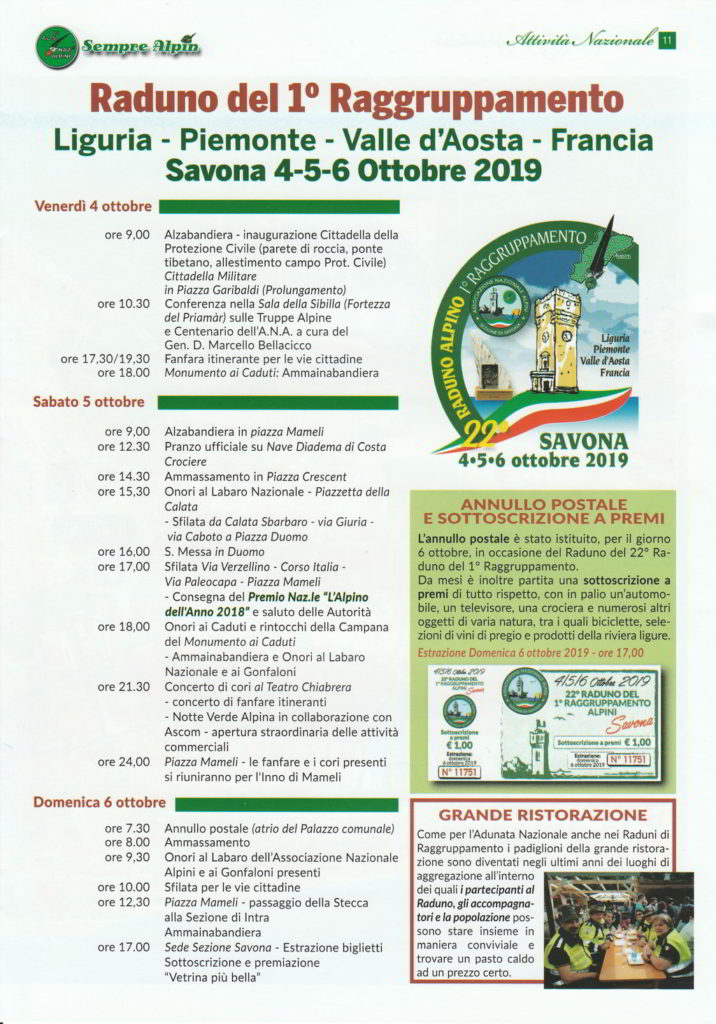 Programma raduno Alpini a Savona