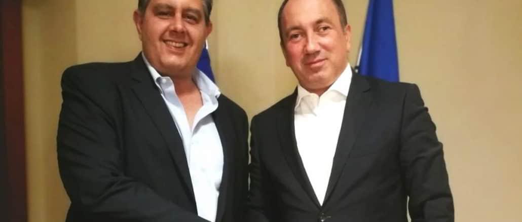 Il Presidente di Regione Liguria Giovanni Toti e il Ministro degli Esteri della Bosnia ed Erzegovina Igor Crnadak