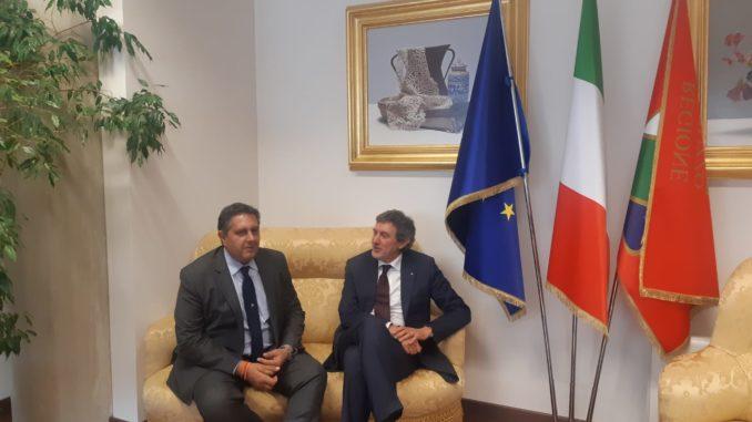 Incontro tra il presidente di Regione Liguria Giovanni Toti e Regione Abruzzo Marco Marsilio