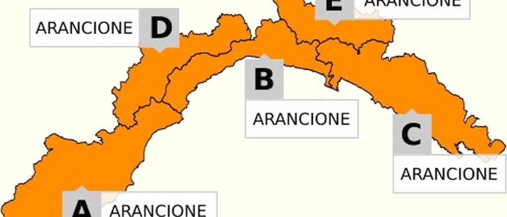 cartina Liguria allerta arancione