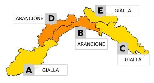 cartina allerta Liguria 24 e 25 ottobre 2019