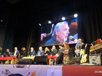 Il palco ad Albenga per finale Ottobre De Andrè 2019