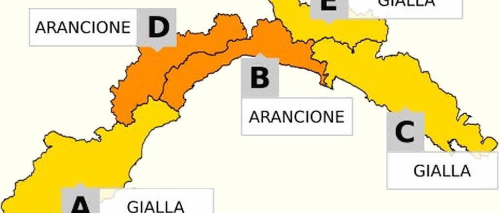 Allerta Liguria Giallo e Arancione B D