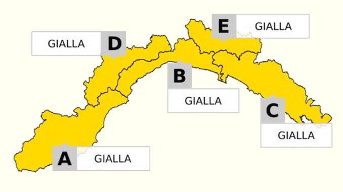 Allerta gialla su tutta la Liguria