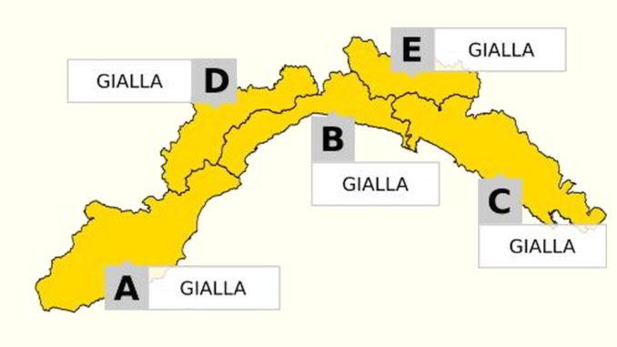 Cartina Liguria Allerta gialla su tutte le zone