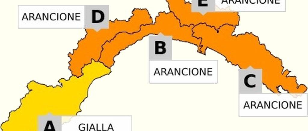 Mappa allerta Liguria