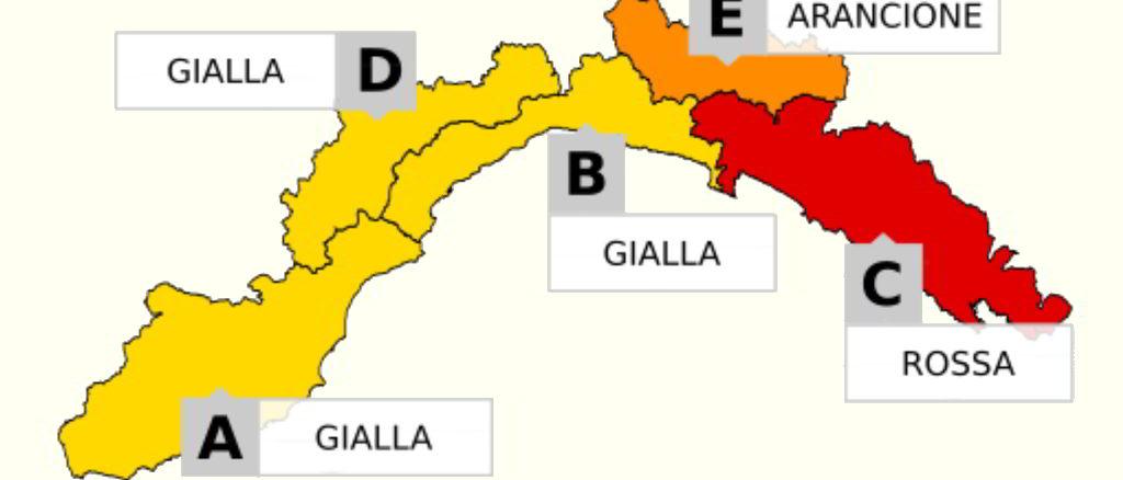 Liguria Allerta Giallo Rosso e Arancione