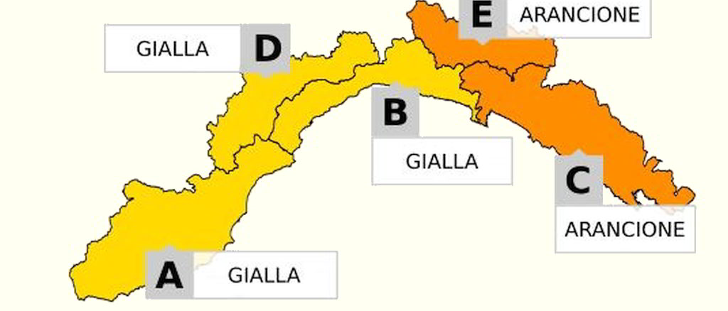 Cartina allerta meteo in Liguria