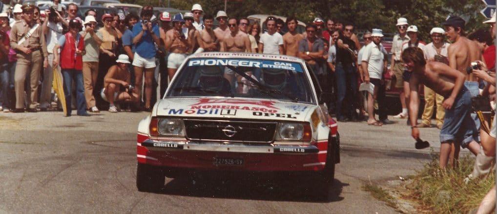 Opel Ascona di Gabriele Noberasco durante rally 1981