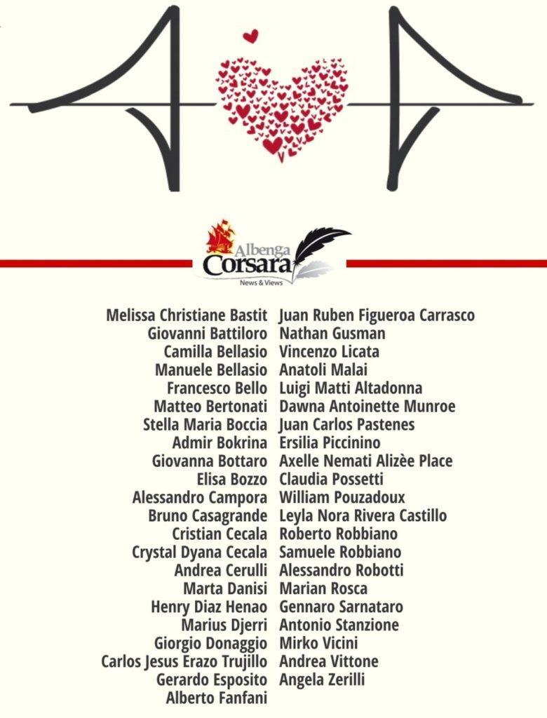 Le 43 vittime del crollo del Ponte Morandi