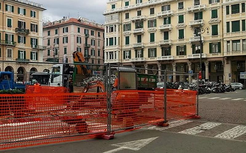 Cantiere in Piazza Mameli a Savona