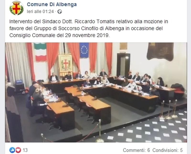 Commenti pagina fb Comune Albenga 01