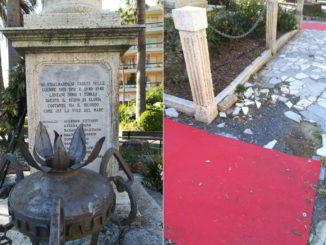 Finale Ligure incuria al Monumento ai caduti