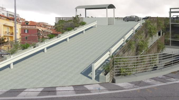 Via Pera soprastrada rendering parcheggio Alassio