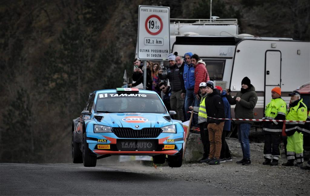 Stefano Albertini e Danilo Fappani (Skoda Fabia R5) in gara alla settima edizione della Ronde della Val Merula
